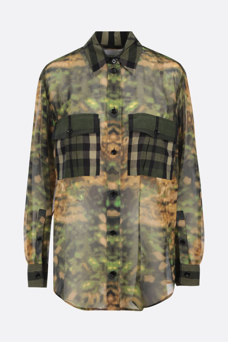 BURBERRY: Ferne collage print oversize silk shirt Color Green_1