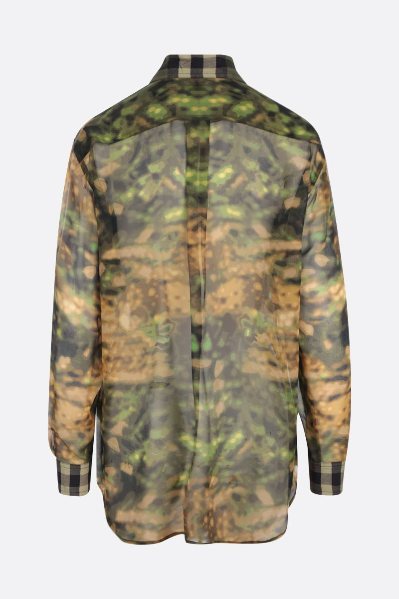 BURBERRY: Ferne collage print oversize silk shirt Color Green_2