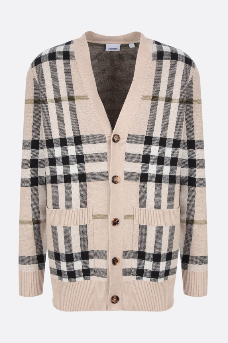 BURBERRY: check wool cashmere blend pullover Color Multicolor_1