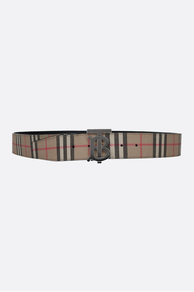 BURBERRY: e-canvas and smooth leather reversible belt Color Neutral_1