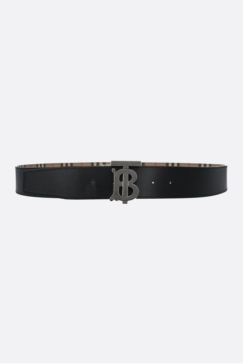 BURBERRY: e-canvas and smooth leather reversible belt Color Neutral_2