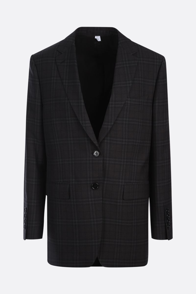 BURBERRY: single-breasted check wool jacket Color Black_1