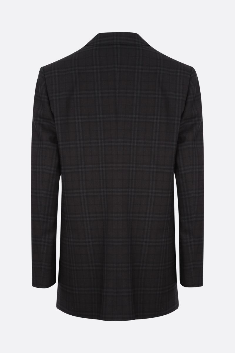 BURBERRY: single-breasted check wool jacket Color Black_2