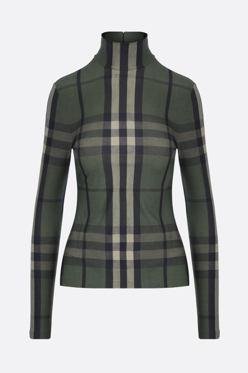 BURBERRY: Emery stretch jersey turtleneck top Color Green_1
