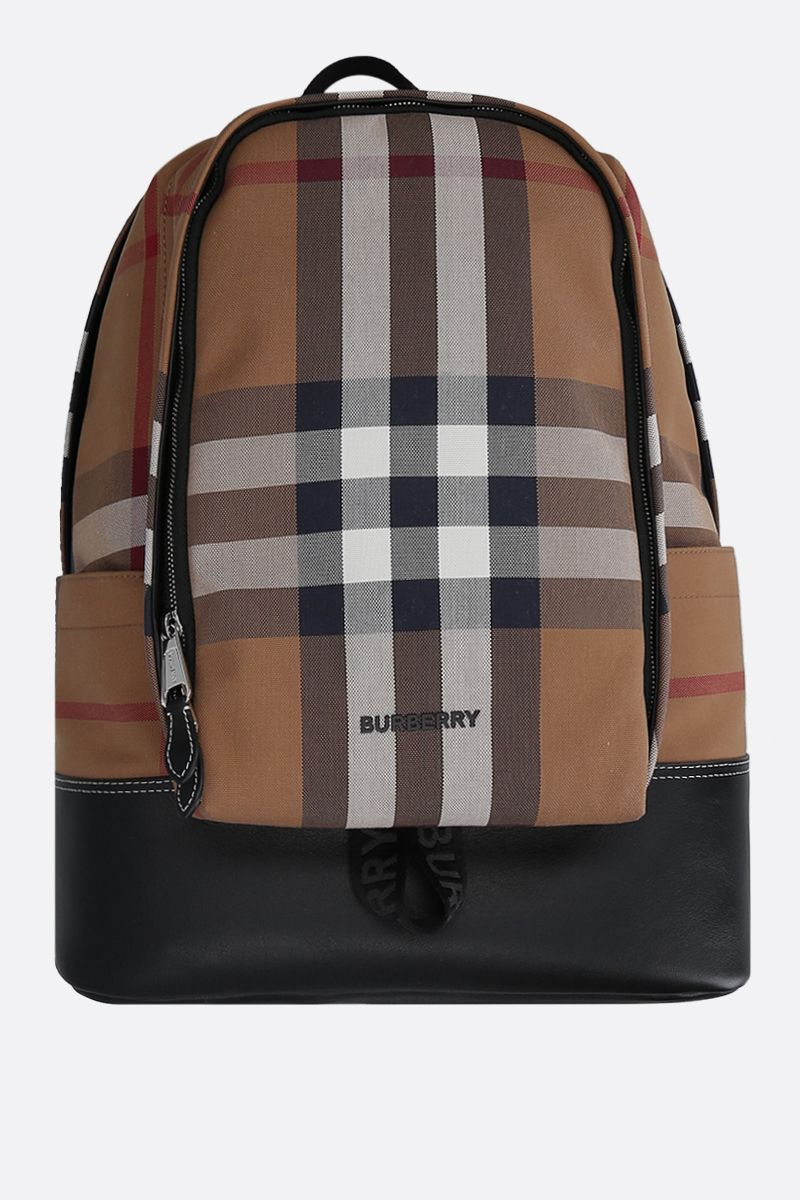 BURBERRY: Jack canvas and smooth leather backpack Color Brown_1