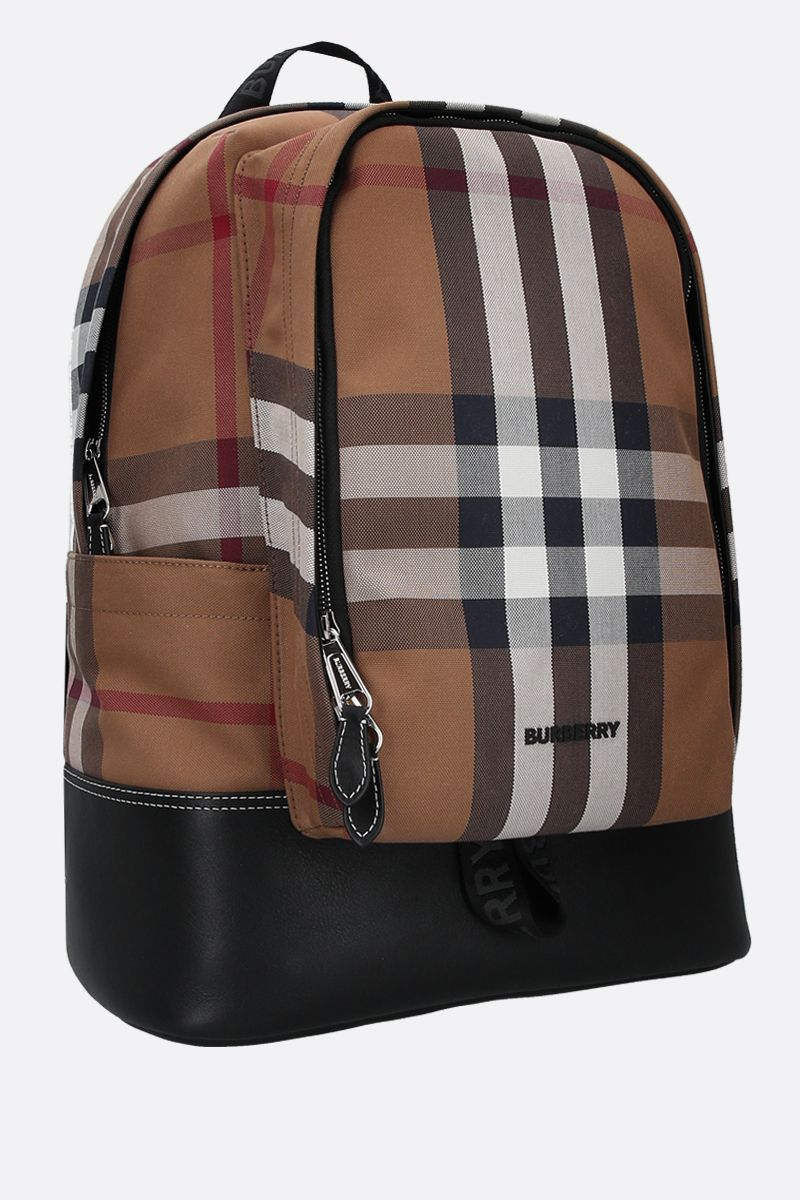 BURBERRY: Jack canvas and smooth leather backpack Color Brown_2