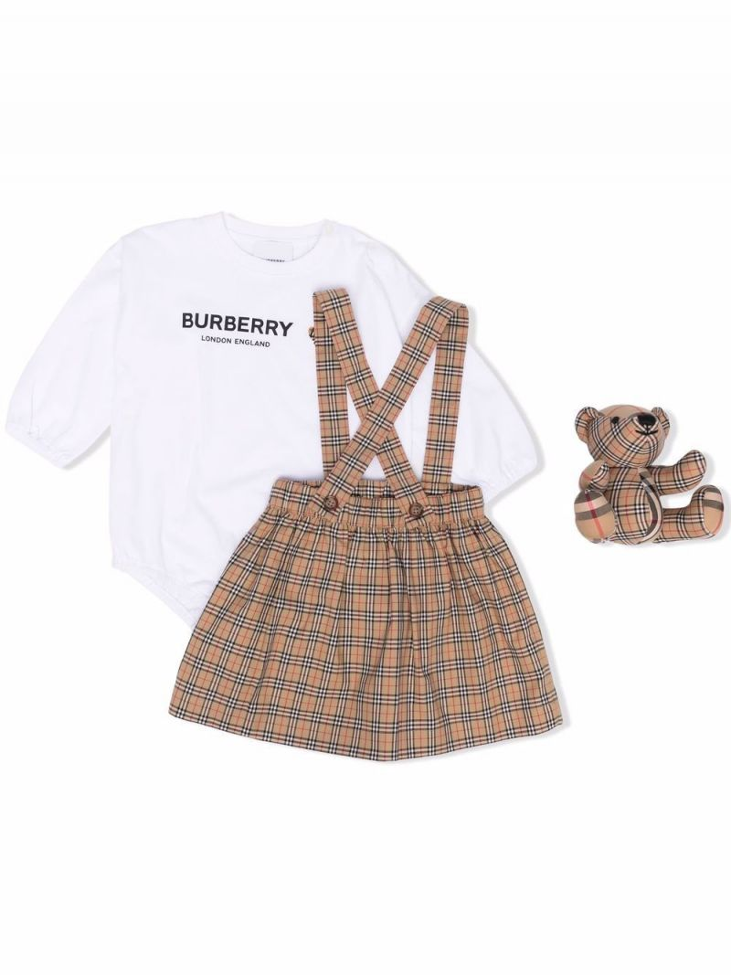 BURBERRY CHILDREN: three-piece gift set in check cotton Color Neutral_1
