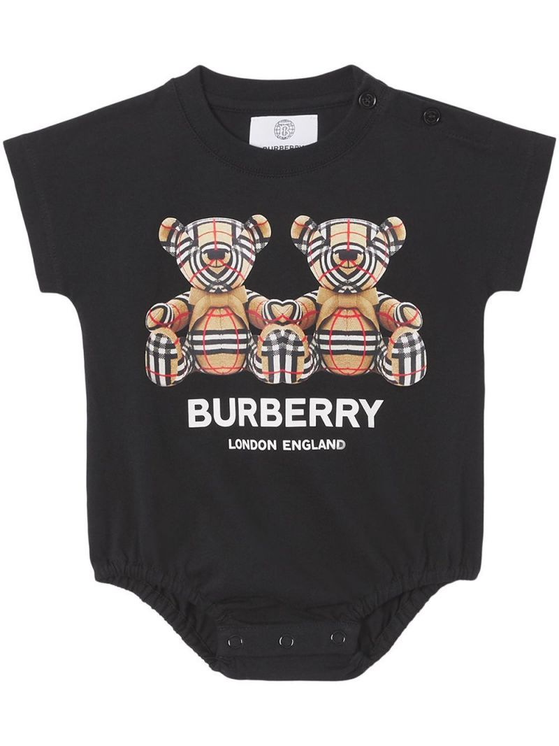 BURBERRY CHILDREN: four-piece babygrow set in cotton and technical wool Color White_2