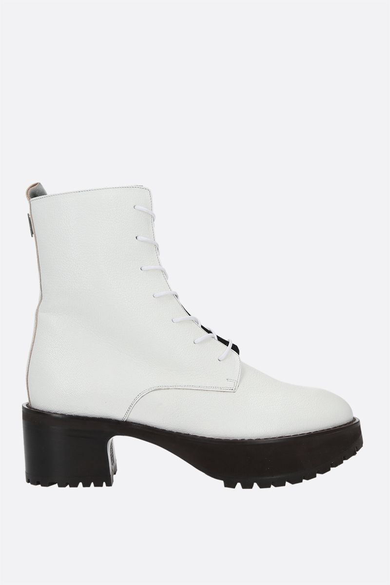 BY FAR: Cobain grainy leather combat boots Color White_1