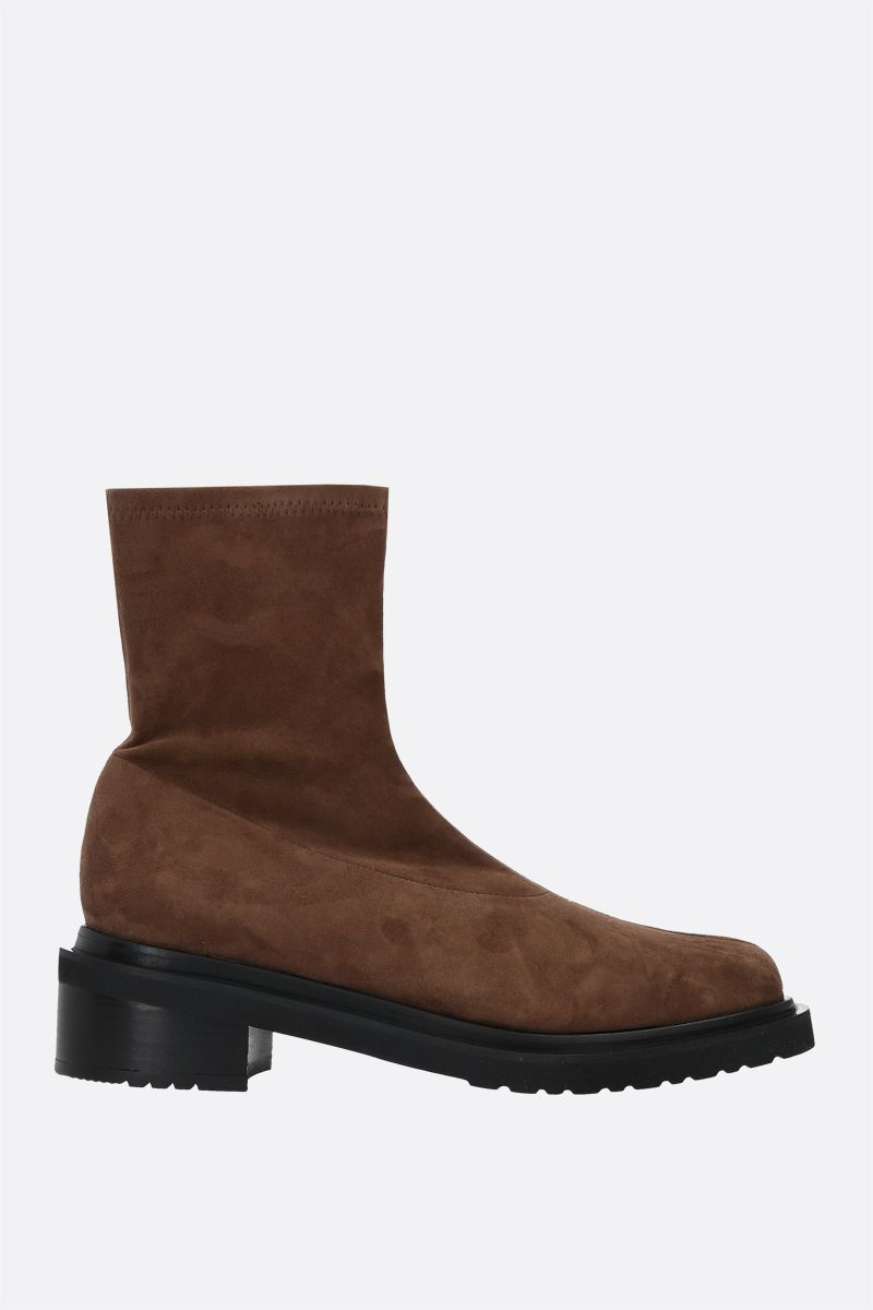 BY FAR: Kah soft suede ankle boots Color Brown_1