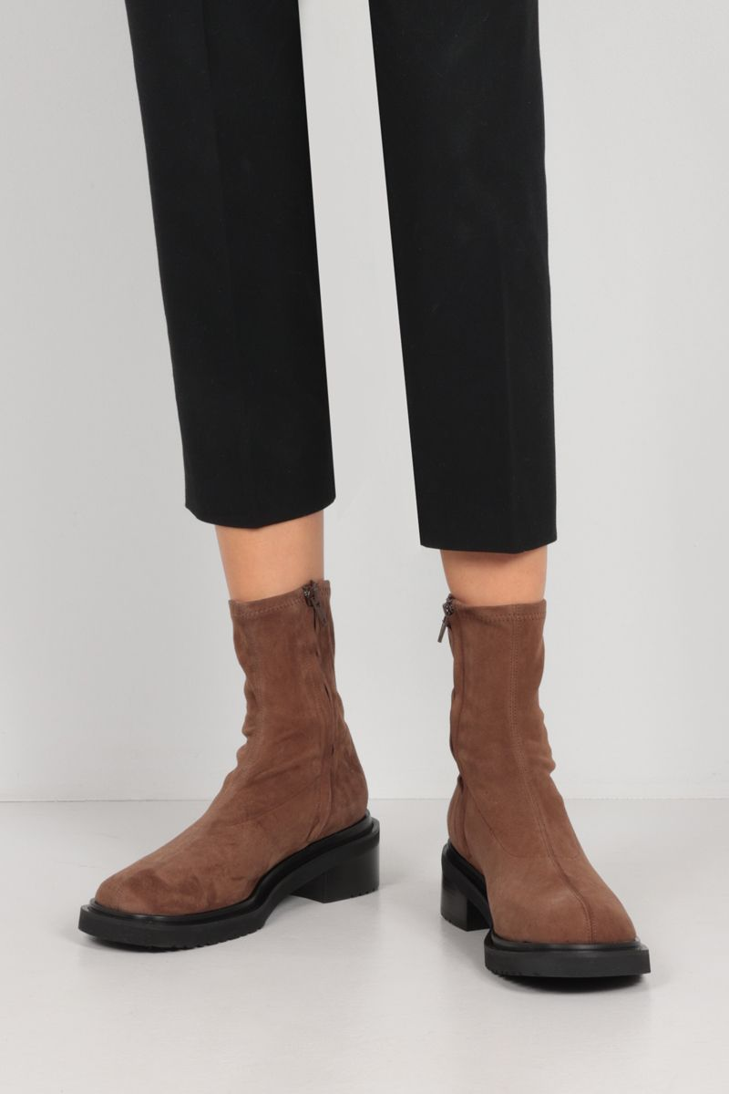 BY FAR: Kah soft suede ankle boots Color Brown_2