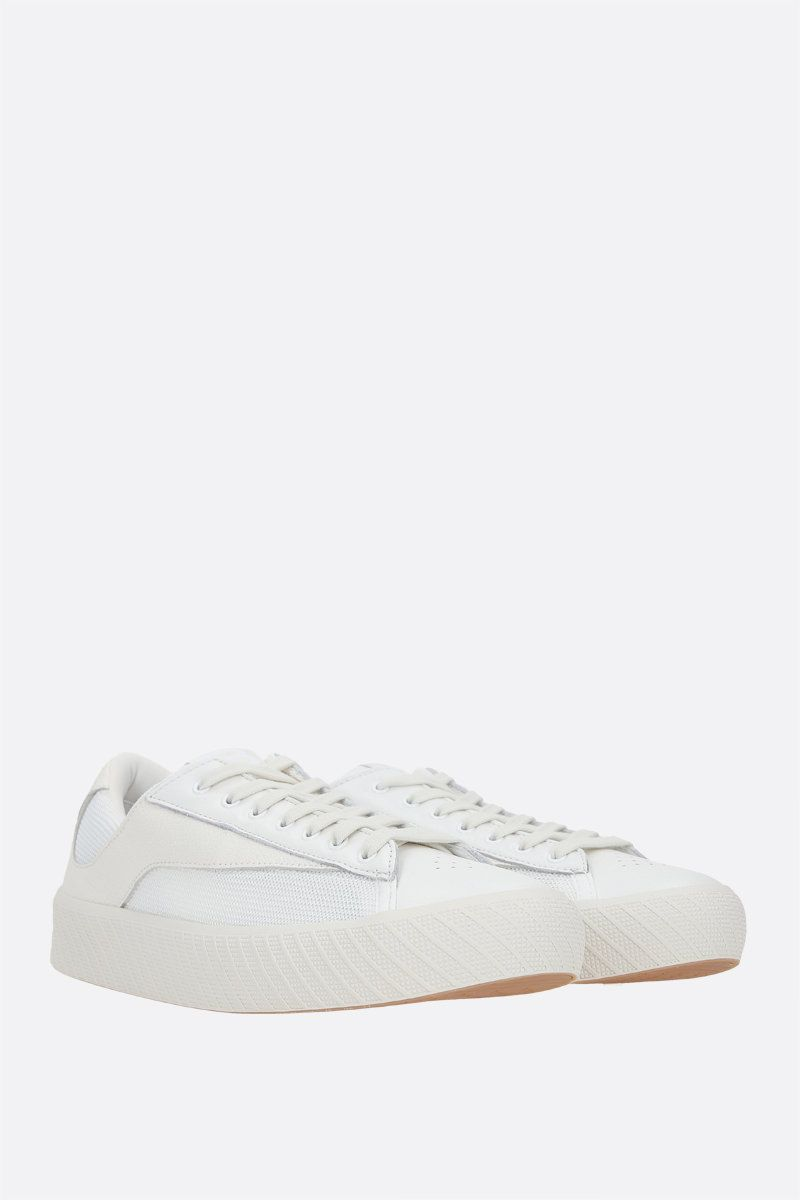 BY FAR: Rodina grainy leather and technical mesh sneakers Color White_2