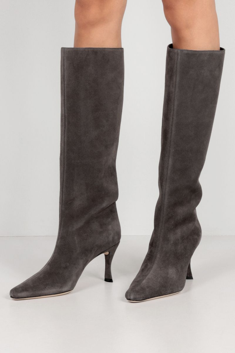 BY FAR: Stevie 42 suede boots Color Grey_2