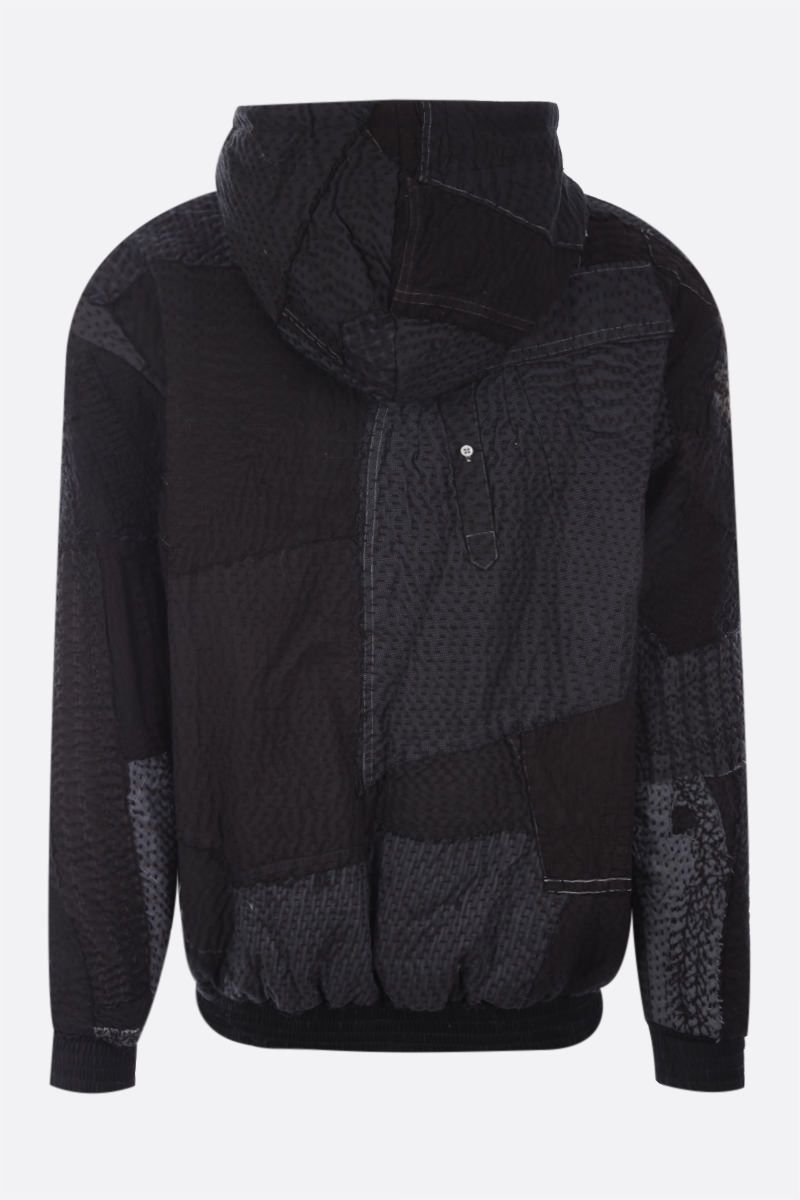 BY WALID: Hayden hoodie in a patchwork of recycled fabrics Color Black_2
