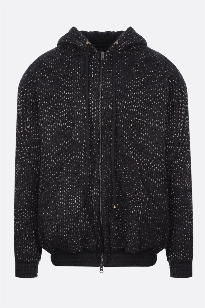 BY WALID: Hayden striped wool and recycled jersey patchwork hoodie Color Black_1