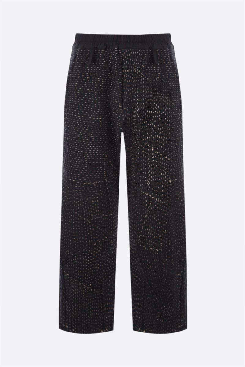 BY WALID: pantalone Gerald in lana a righe e jersey patchwork riciclato Colore Black_1