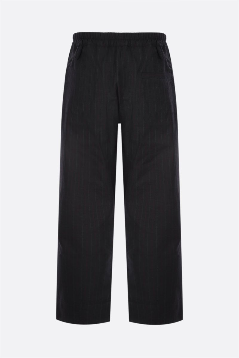 BY WALID: pantalone Gerald in lana a righe e jersey patchwork riciclato Colore Black_2