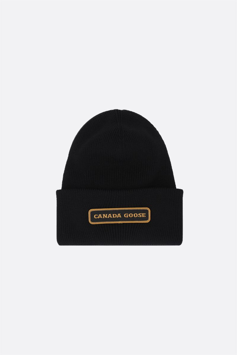 CANADA GOOSE: logo-detailed wool beanie Color Black_1