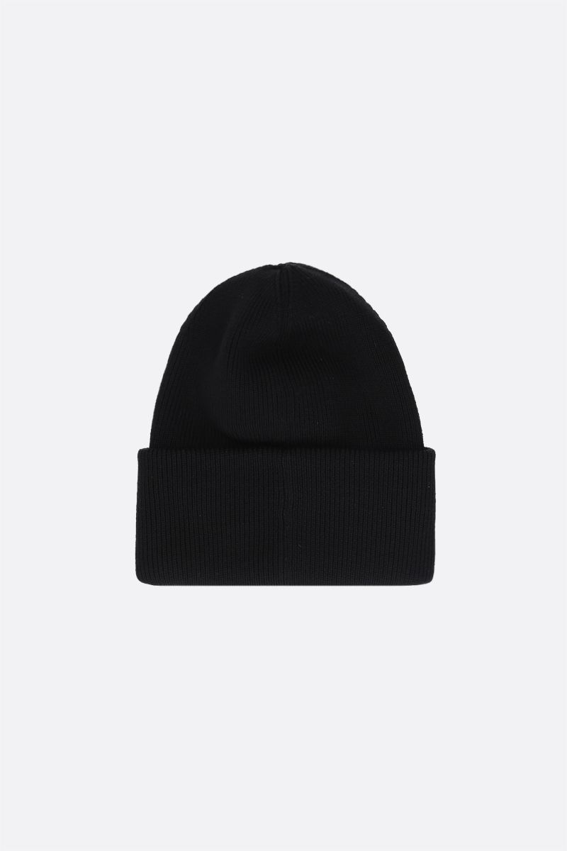 CANADA GOOSE: logo-detailed wool beanie Color Black_2