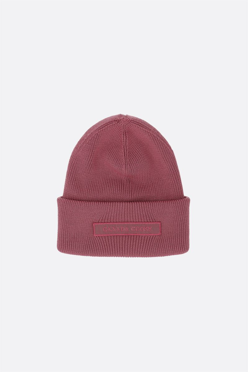 CANADA GOOSE: logo-detailed wool beanie Color Purple_1