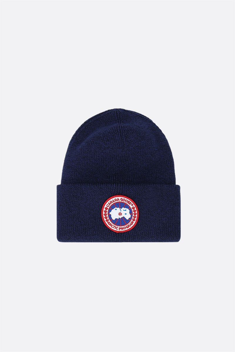 CANADA GOOSE: logo patch wool beanie Color Blue_1