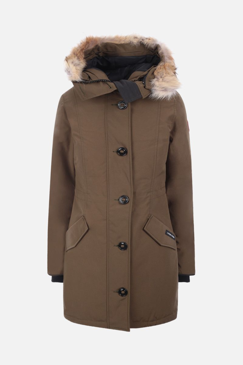 CANADA GOOSE: Rossclair technical fabric down jacket Color Green_1