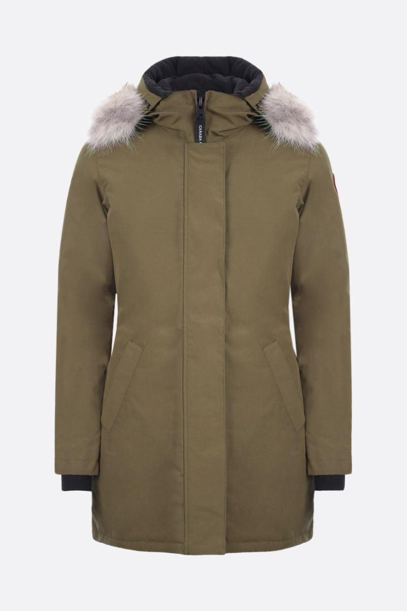 CANADA GOOSE: Victoria technical fabric down jacket Color Green_1