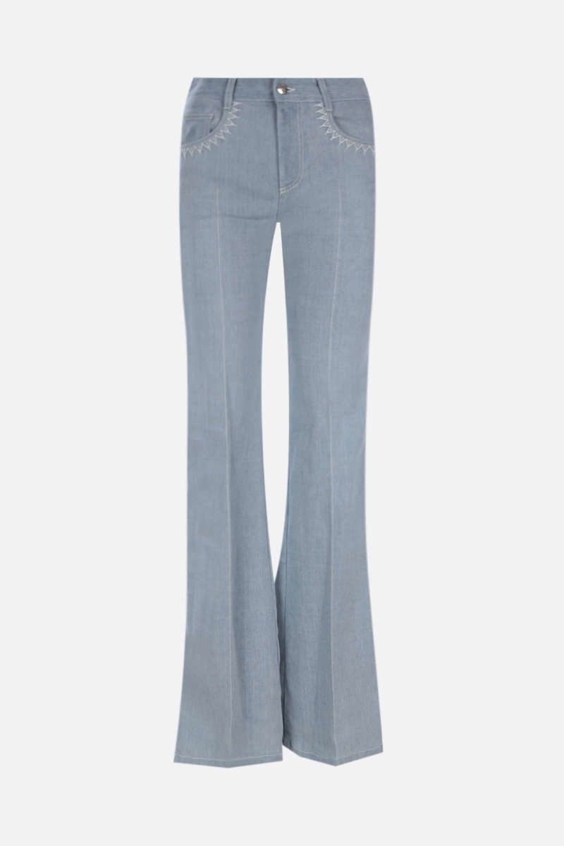 CHLOÈ: zig-zag embroidered flared jeans_1