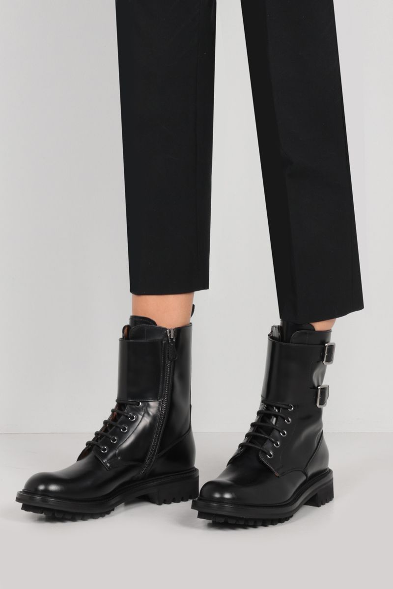 CHURCH'S: Carly LW rois brushed leather combat boots Color Black_2
