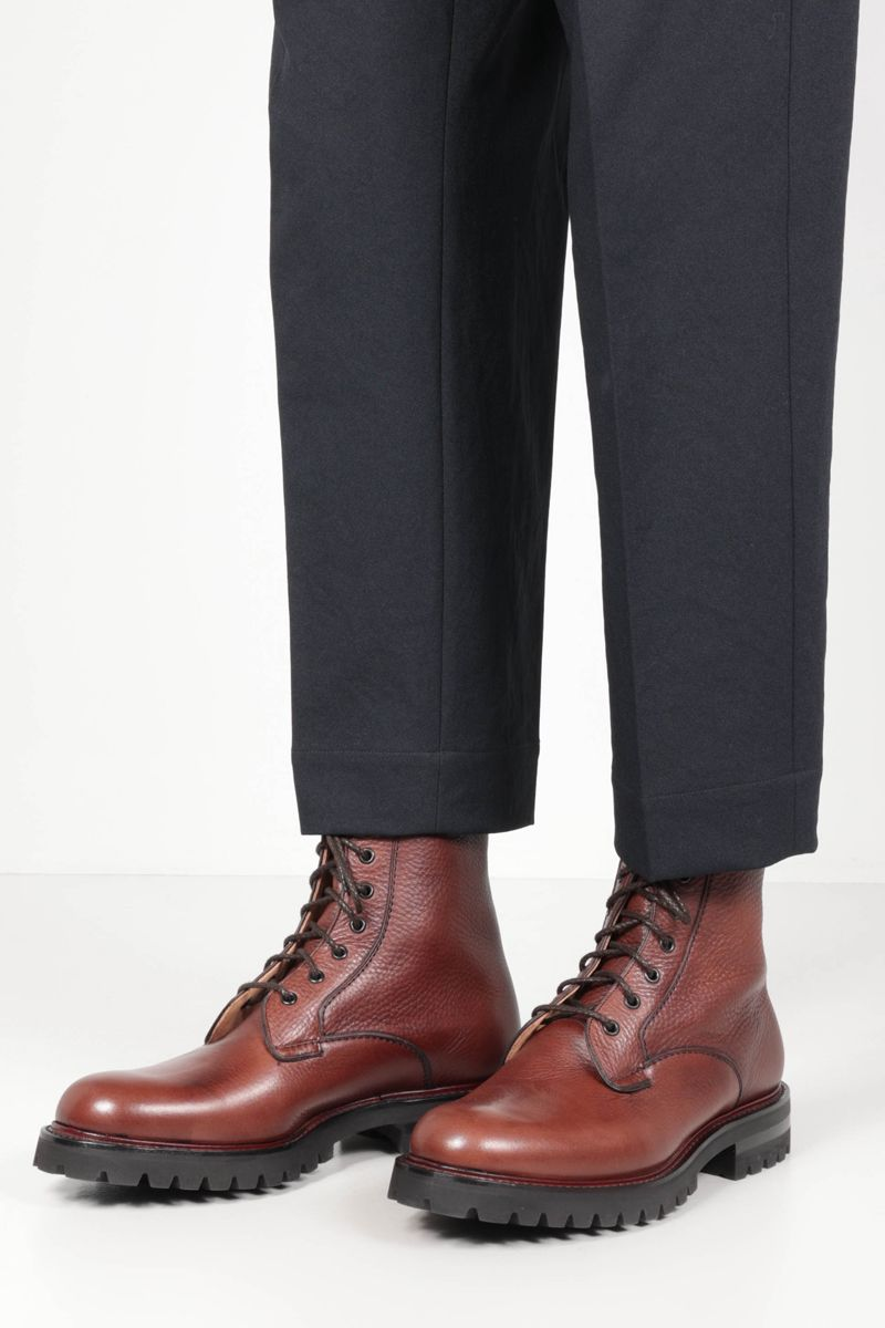 CHURCH'S: Coalport 2 combat boots in Soft Grain leather Color Red_2