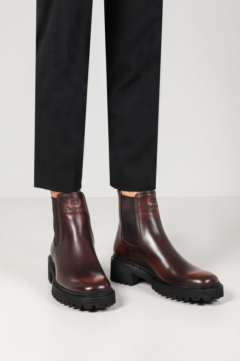 CHURCH'S: Gwen brushed leather chelsea boots Color Brown_2