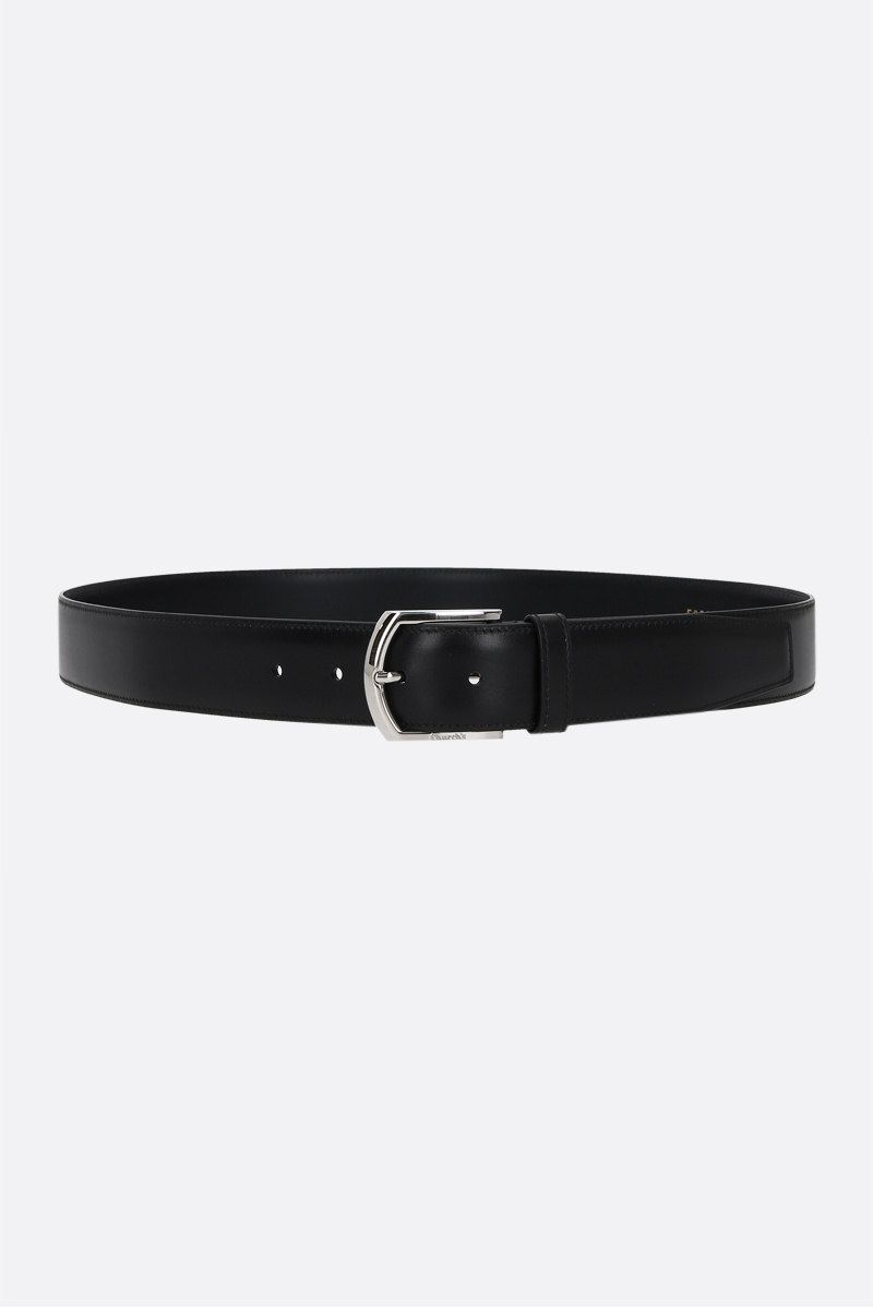 CHURCH'S: brushed leather classic belt Color Black_1