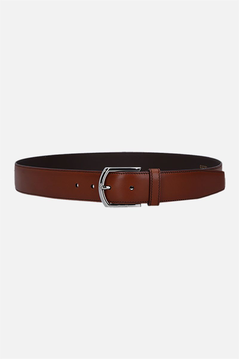 CHURCH'S: brushed leather classic belt Color Brown_1