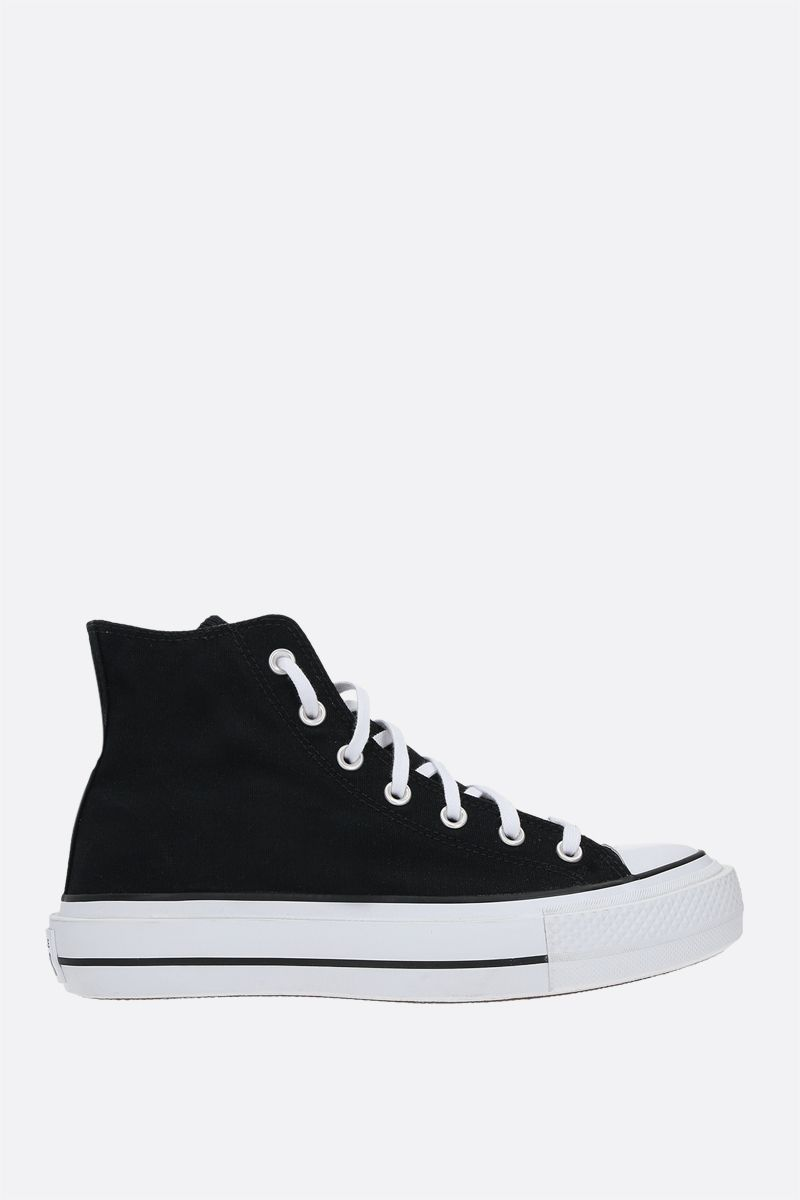 CONVERSE: Chuck Taylor All Star canvas flatform high-top sneakers Color Black_1