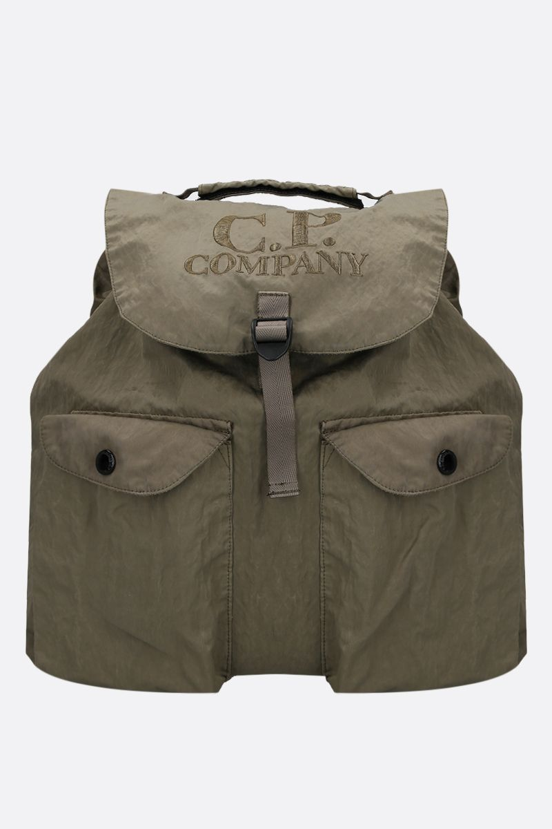 CP COMPANY: logo embroidered nylon backpack Color Grey_1