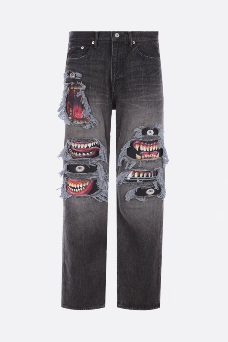 DOUBLET: jeans a gamba dritta Monster Repair Colore Black_1