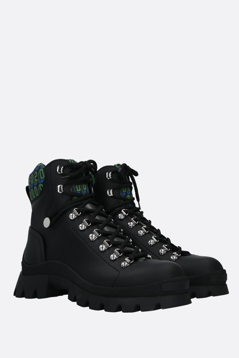 DSQUARED2: Monogram combat boots in smooth leather and nylon Color Black_2