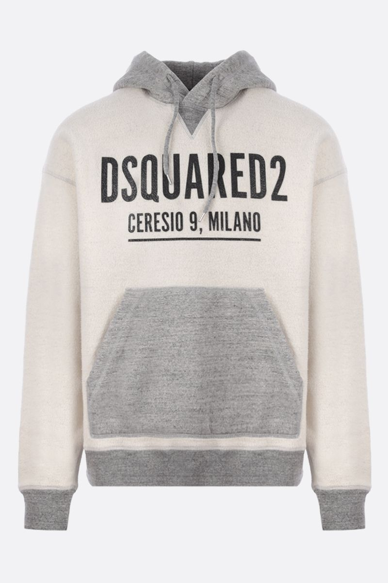 DSQUARED2: logo print reversed jersey hoodie Color Grey_1
