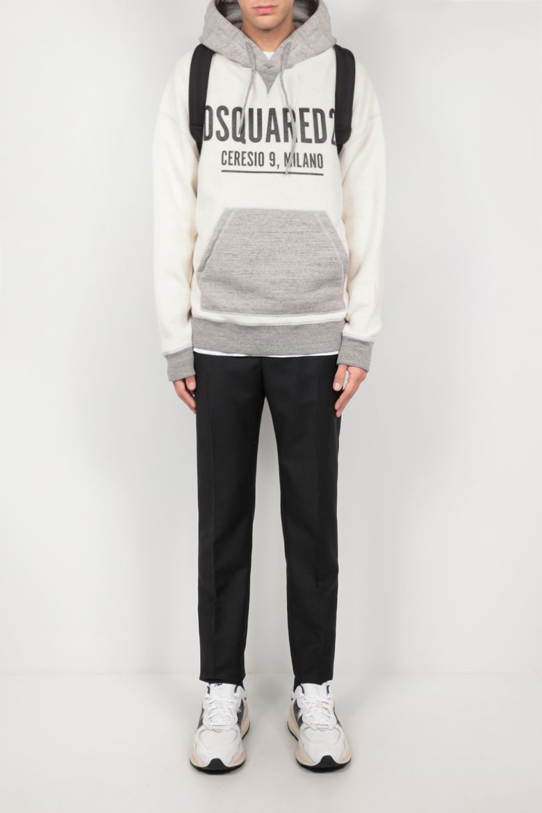 DSQUARED2: logo print reversed jersey hoodie Color Grey_2