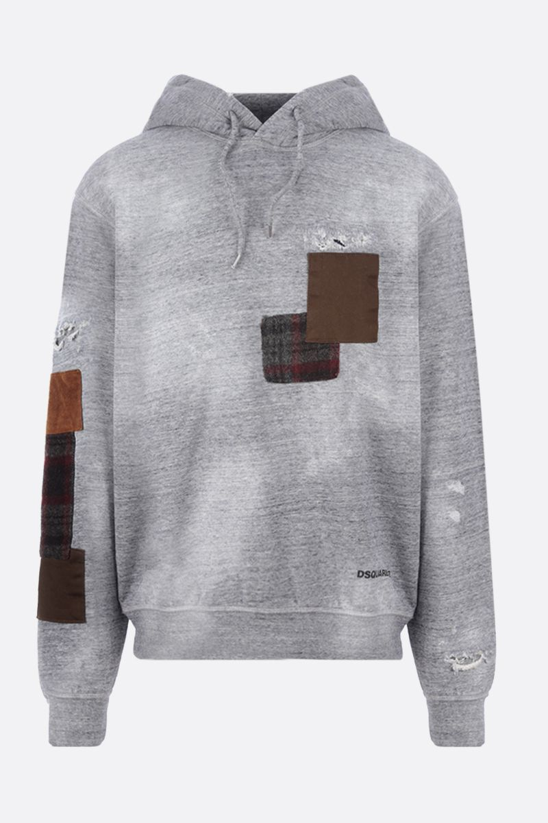 DSQUARED2: patch-detailed cotton hoodie Color Grey_1
