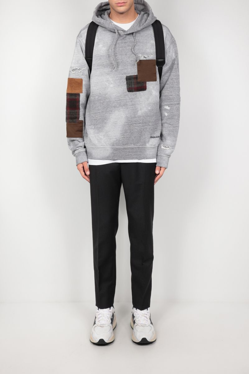 DSQUARED2: patch-detailed cotton hoodie Color Grey_2