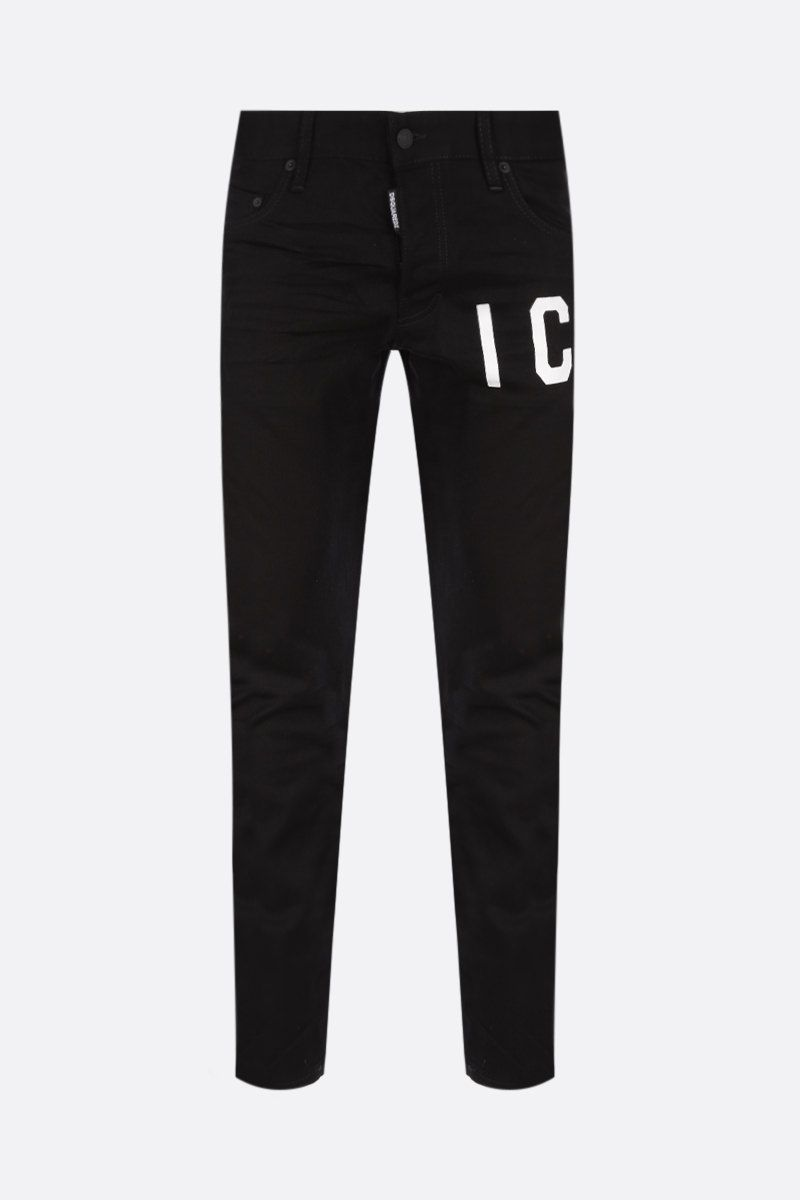 DSQUARED2: Skater jeans with Icon Dsquared2 print Color Black_1
