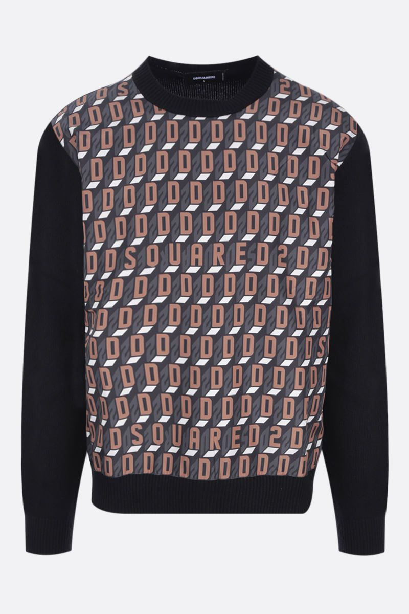 DSQUARED2: geometric logo print pullover in wool and polyester Color Black_1