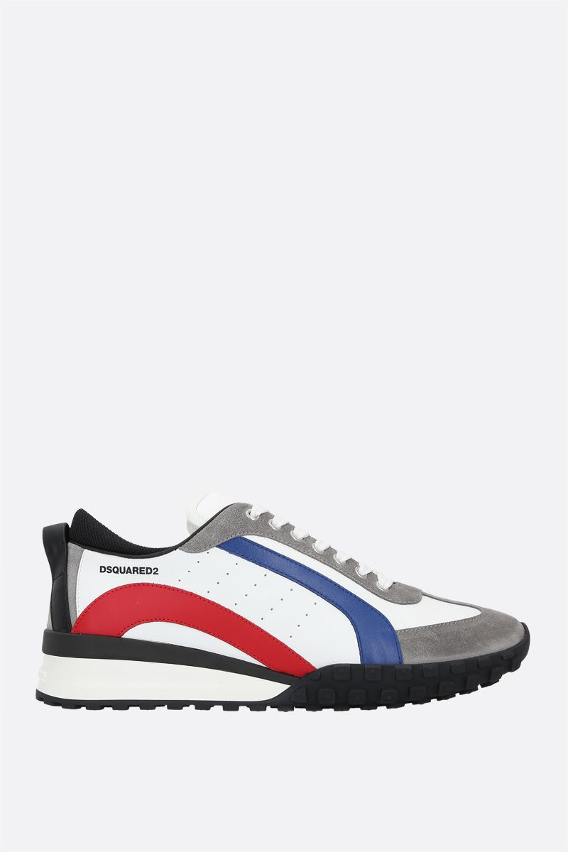 DSQUARED2: Legend smooth leather and suede sneakers Color Multicolor_1