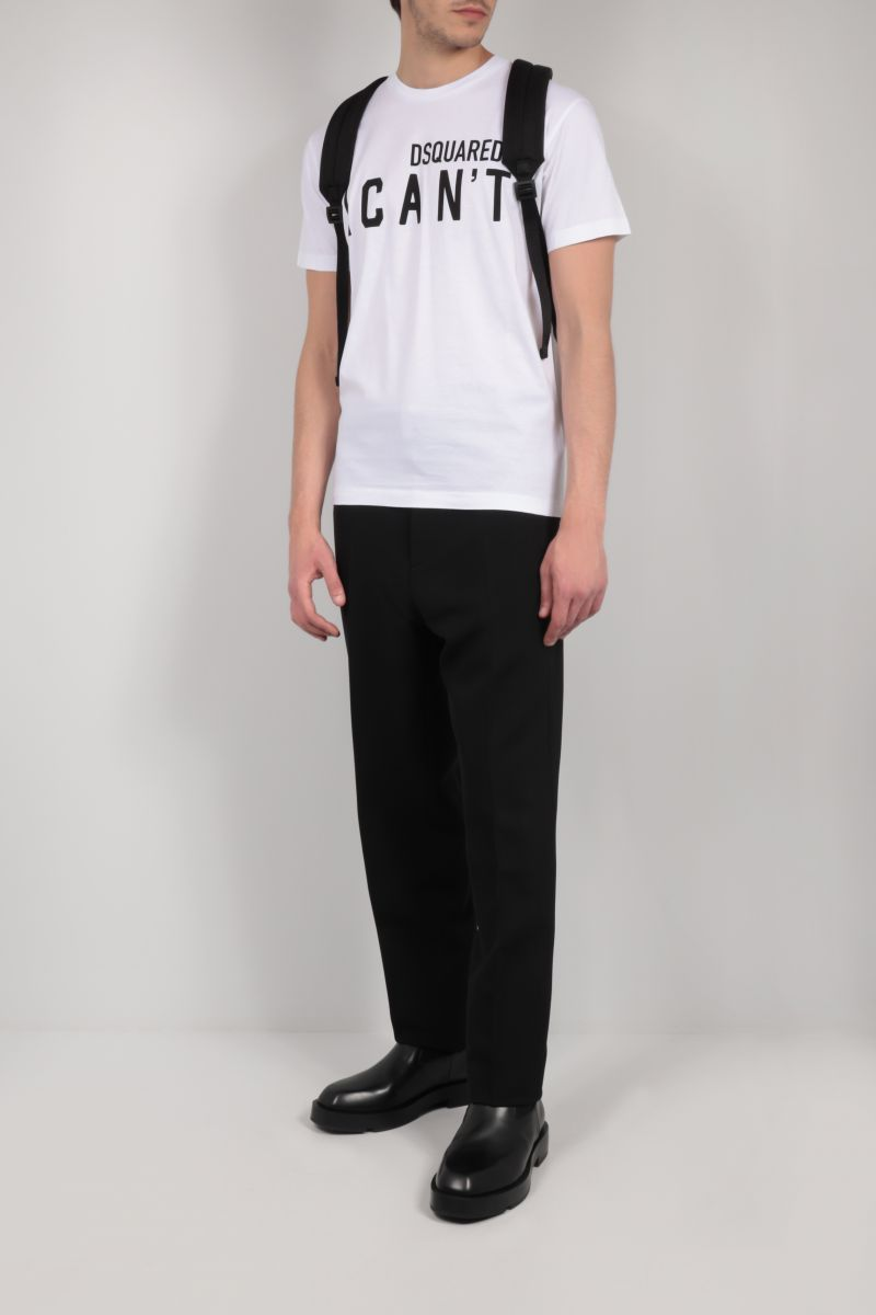 DSQUARED2: I Can't cotton t-shirt Color White_2