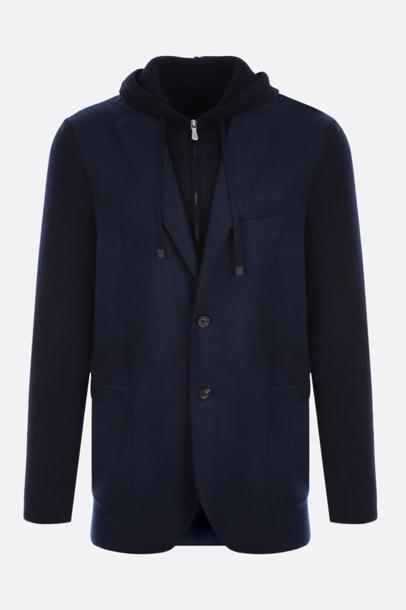 ELEVENTY: single-breasted flannel and knit jacket Color Blue_1