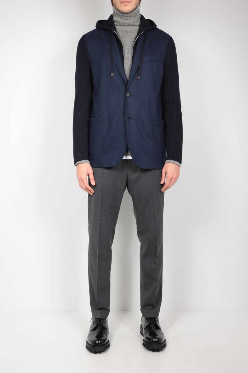 ELEVENTY: single-breasted flannel and knit jacket Color Blue_2