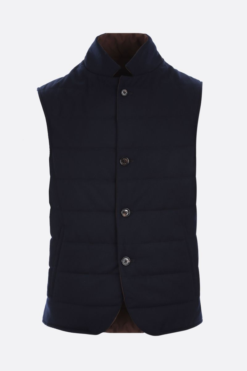 ELEVENTY: reversible padded vest in wool and tech wool Color Blue_1