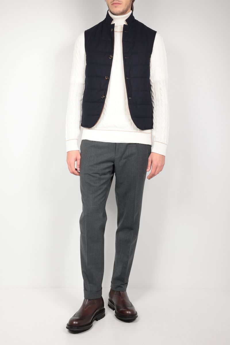 ELEVENTY: reversible padded vest in wool and tech wool Color Blue_2