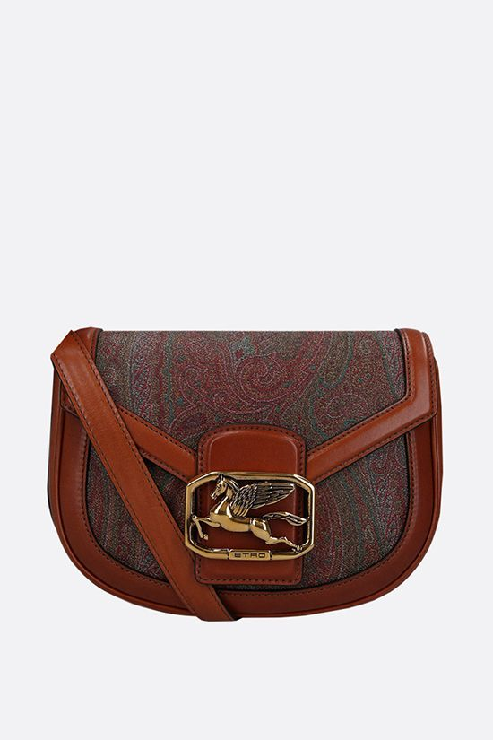 ETRO: Pegaso medium crossbody bag in paisley canvas and leather Color Brown_1